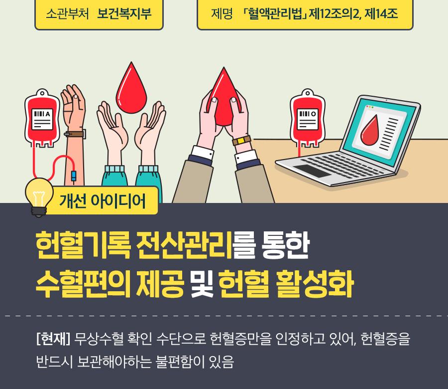 헌혈기록 전산관리를 통한 수혈편의 제공 및 헌혈 활성화